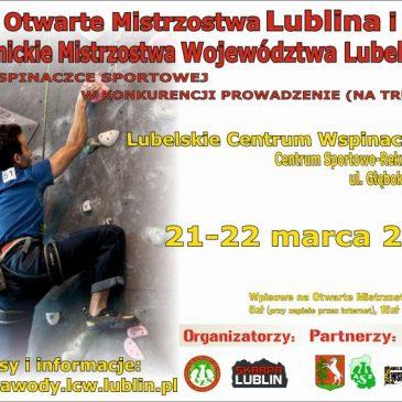 Otwarte Mistrzostwa Lublina we wspinaczce sportowej w konkurencji prowadzenie (na trudność) Lublin, 21-22.03.2015